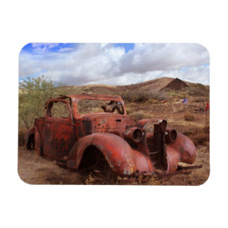 Old Car Rusting In Desert Landscape Rectangular Photo Magnet