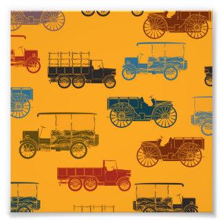 Old Car & Wagon Pattern Photo Print