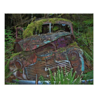 Old Car Wreck in the Forest Photo Poster