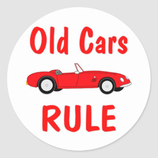 Old Cars Rule Round Sticker