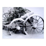 Old Cart Wheels in the Winter Snow Rural Photo Postcard