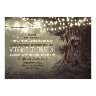old carved tree twinkle lights rustic wedding 13 cm x 18 cm invitation card