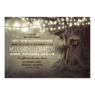 old carved tree twinkle lights rustic wedding card