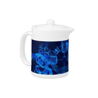Old Celtic Design in Blue Art Teapot