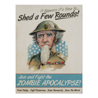 Old Chap Uncle Sam Shed a Few Rounds Poster