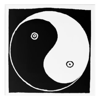 Old Chinese Yin and Yang Symbol Acrylic Print