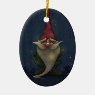 Old Christmas Gnome Ceramic Oval Ornament