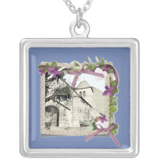 Old church in France / Auvergne / cantal Silver Plated Necklace