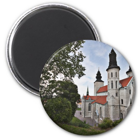 Old Church in Visby Sweden 6 Cm Round Magnet