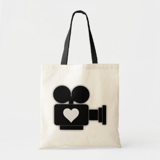 OLD CINE CAMERA AND HEART TOTE BAG