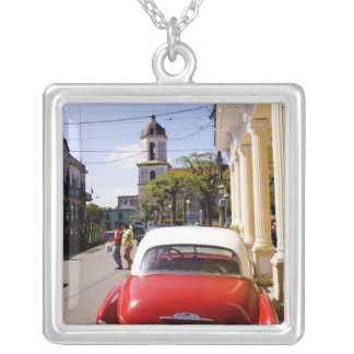 Old classic American auto in Guanabacoa a town Silver Plated Necklace