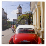 Old classic American auto in Guanabacoa a town Large Square Tile
