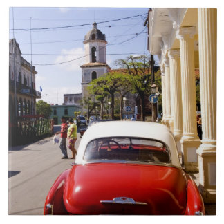 Old classic American auto in Guanabacoa a town Tile
