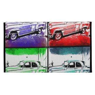 Old Classic Car Watercolor Pop Art Print iPad Folio Cases