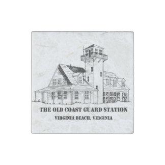 Old Coast Guard Station Logo Marble Magnet Stone Magnet