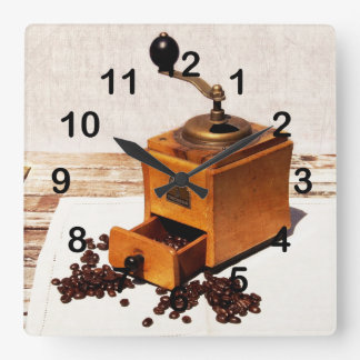 old coffee mill with coffee beans square wall clock