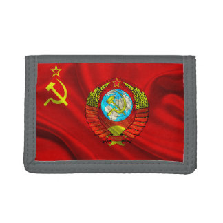 Old Communist USSR Flag Fabric Trifold Wallet