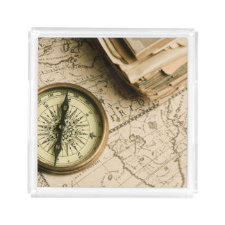 Old Compass Over Ancient Map Acrylic Tray