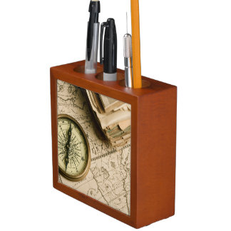 Old Compass Over Ancient Map Desk Organiser