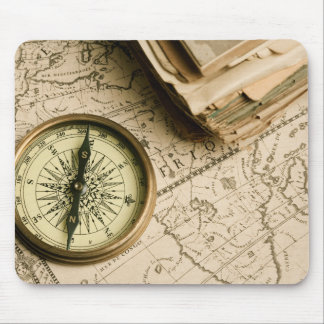 Old Compass Over Ancient Map Mouse Mat