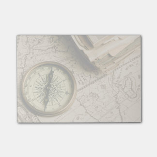 Old Compass Over Ancient Map Post-it Notes