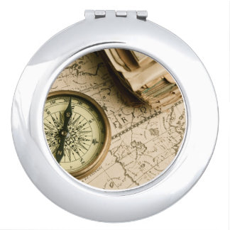 Old Compass Over Ancient Map Travel Mirror