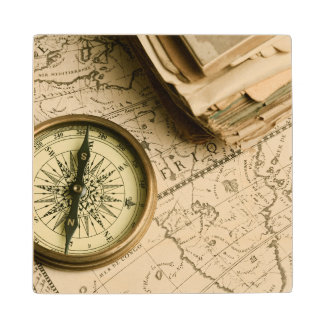 Old Compass Over Ancient Map Wood Coaster