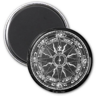 Old Compass Rose (B&W) 6 Cm Round Magnet