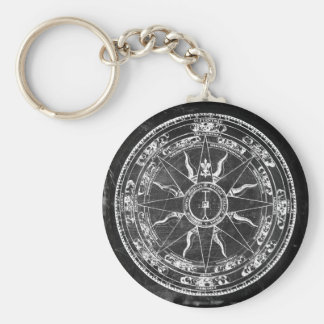 Old Compass Rose (B&W) Key Ring