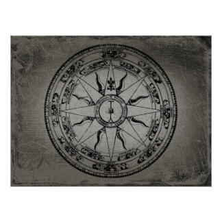 Old Compass Rose (B&W) Poster