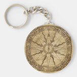 Old Compass Rose Basic Round Button Key Ring