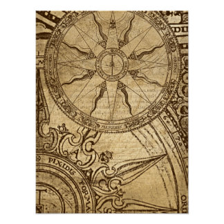Old Compass Rose Poster