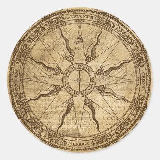 Old Compass Rose Round Sticker
