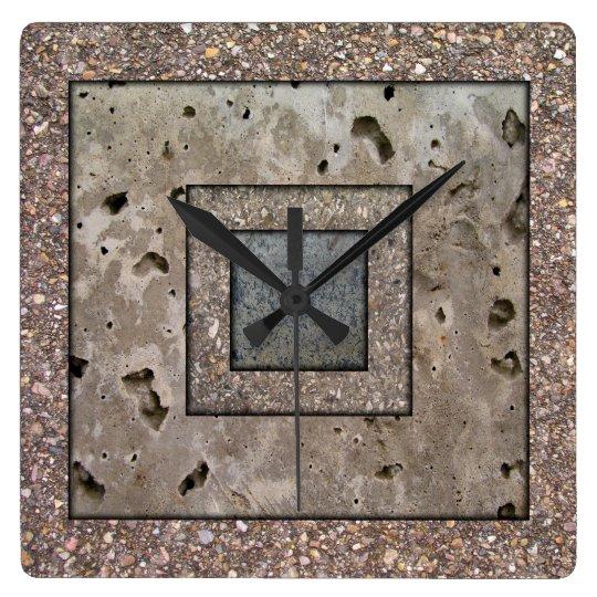 Old Concrete Square panel Wall Clock
