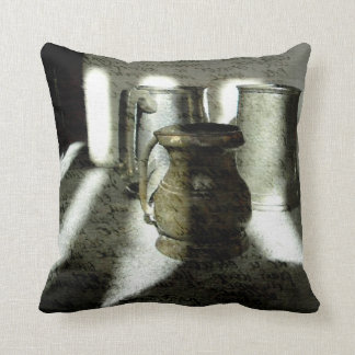 Old Copper and Pewter Mugs by Alexandra Cook Throw Cushions