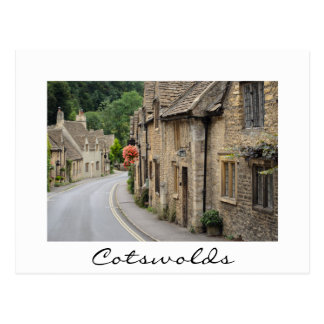 Old cottages in Castle Combe white text postcard