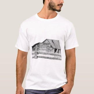 Old Country Barnboard Woodshed Pen and Ink Drawing T-Shirt