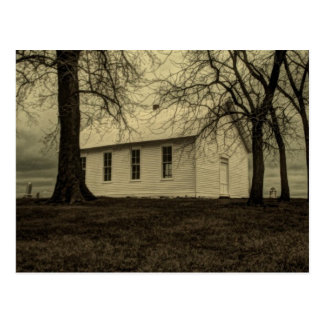 Old country church in the fall time. postcard