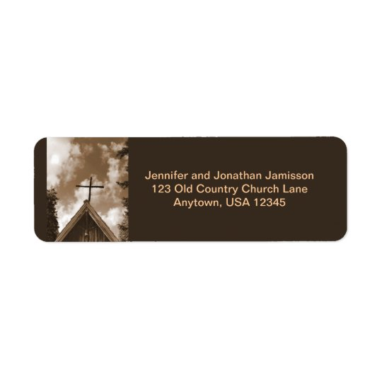 Old Country Church Sepia Return Address Labels