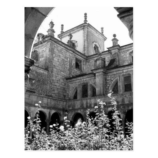 Old Courtyard Black & White Photograph Postcard