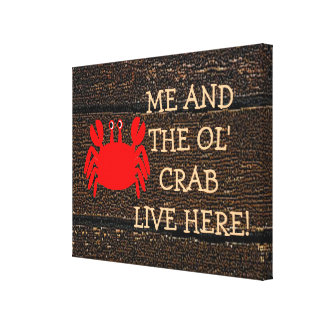 Old Crab Sign-Marriage Gallery Wrap Canvas