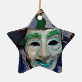 Old Creepy Carnival Mask Ceramic Star Decoration