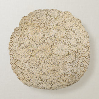 Old Crochet Lace Floral Pattern + your ideas Round Cushion