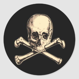 Old Cross Bones Round Sticker