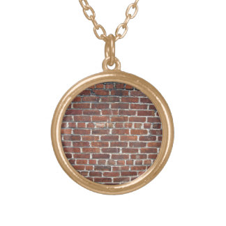 Old Damaged Brick Wall With Periodic White Lines Necklaces