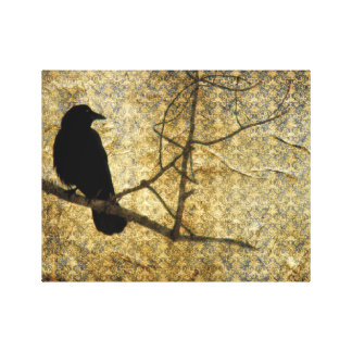 Old Damask Crow Art Canvas Print