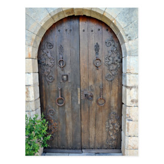 Old Decorative Wooden Door On Stone Wall Postcard