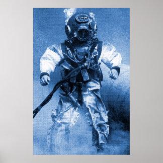 old diver with brass helmet blue color poster