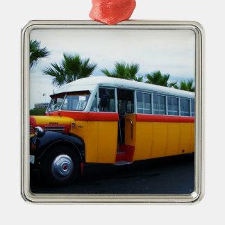 Old Dodge Bus. Silver-Colored Square Decoration