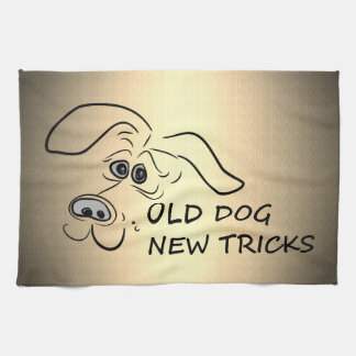 Old dog new tricks. tea towel